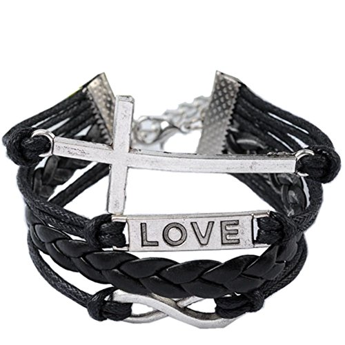 Christmas Gifts EyourlifeFashion Weave Wrap Around Leather Love Bracelet Cross Style Black