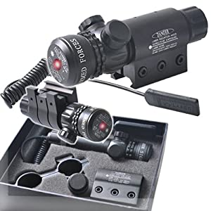 Cvlife Red Dot Laser Sight Outside Adjust Rifle Gun Scope 2 Switch Rail Mounts Box Set