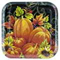 """Pumpkin Tapestry 24 Count Square 7"""" Paper Lunch Plates"""