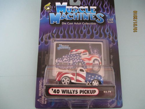 Muscle Machines 40 Willys Pickup Without Scoop Stars N Stripes - 1