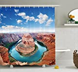 Ambesonne Room Decorations Collection, Horse Shoe Bend North Rim Grand Canyon Page Arizona USA Famous Tourist Attractions, Polyester Fabric Bathroom Shower Curtain Set with Hooks, Sandy Brown