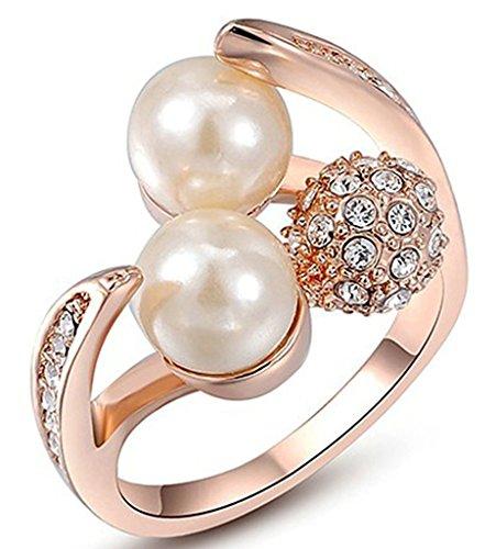 alimab-placcato oro 18K Donna Anelli Fedi Oro Rosa Cristallo Austriaco con doppia perla, taglia 6-8, Lega, 17, colore: oro rosa, cod. xxjiezhityix1569