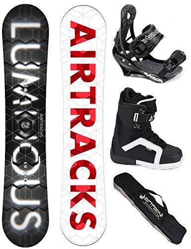 AIRTRACKS SNOWBOARD KOMPLETT SET / LUMINOUS SNOWBOARD WIDE + BINDUNG SAVAGE + BOOTS + SB BAG / 150 152 157 159 162 / cm