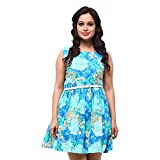 Fbbic Women's Cotton Sleeveless Frock (Blue)