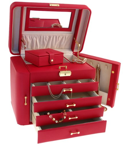 Superb Extra Large Red Real Bonded Leather Jewellery Box by Mele Co