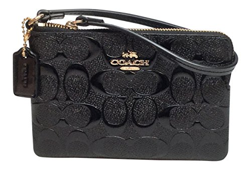 Coach Signature Debossed Patent Leather Corner Zip Wristlet Wallet Black F65752