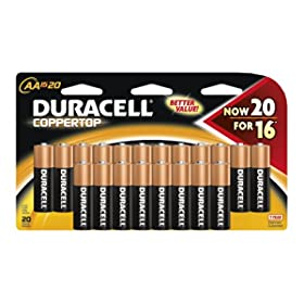 20-count Duracell AA Coppertop Batteries $6.64
