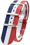 [2PiS] ( トリコロール ネイビー・ホワイト・レッド : 20mm ) NATO 腕時計ベルト ナイロン 替えバンド ストラップ 交換マニュアル付 2-1-20
