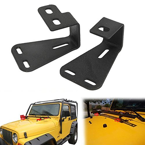 Auxmart Locking Hood Hinge Hi-Lift Farm Jack Mount Brackets for For Jeep Wrangler CJ 1944-1986/ YJ 1987-1995/TJ 1997-2006 (Jeep Jk Jack Mount compare prices)