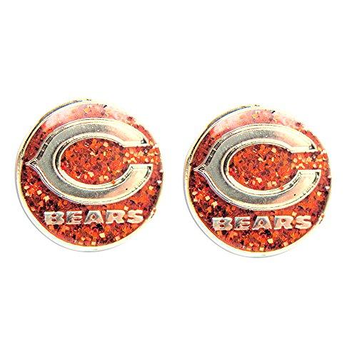 Chicago Bears Sports Team Logo Women Girls Fashion Wear Glitter Sparkle Post Stud Charm Gift Earring Set