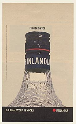 1988 Finlandia Vodka Bottle Finnish on Top Print Ad (48920)