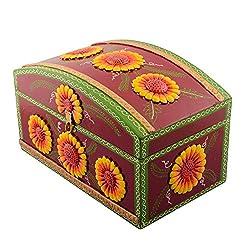 eCraftIndia Decorative Multiutility Papier-Mache Wooden Jewellery Box