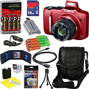 Canon PowerShot SX160 IS 16.0 MP Digital Camera with 16x Optical Zoom with 3.0-Inch LCD (Red) + 4 AA Batteries with AC/DC Rapid Charger + 9pc Bundle 16GB Deluxe Accessory Kit