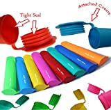Silicone Ice Pop Maker Tube Molds, Set of 10, Assorted Colors
