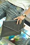 選べる 8 種類 クロコダイル レザー 革 編み込 封筒 クラッチ バッグ ビジネス バッグ ハンド バッグ タブレット 書類 持ち運びに メンズ レディース 男 女 兼用 (クラッチバッグ Ver4(黒))