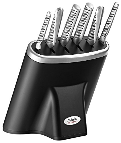 Global 7 Piece Knife Block Set Black/SS Block