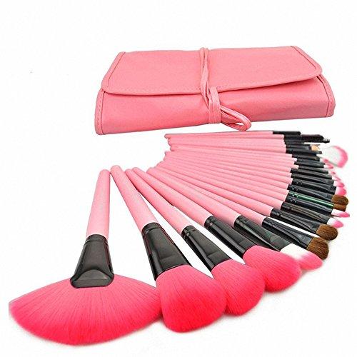 Fashion Base Lot de 24 pinceaux de maquillage professionnel Ombre à paupières poudre Pinceau Kit avec étui Rose