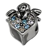 Cherub Angel on Heart with Clear and Blue Crystals European Bead, Pandora Compatible