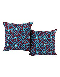 Decorative Maroon 16 by 16 Unique Cushion Cover Set of 2 Abstract Cotton Pillow Covers Vintage Applique Work Throw Pillow By Rajrang