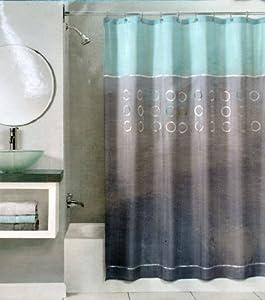 peri woodland circle shower curtain blue gray