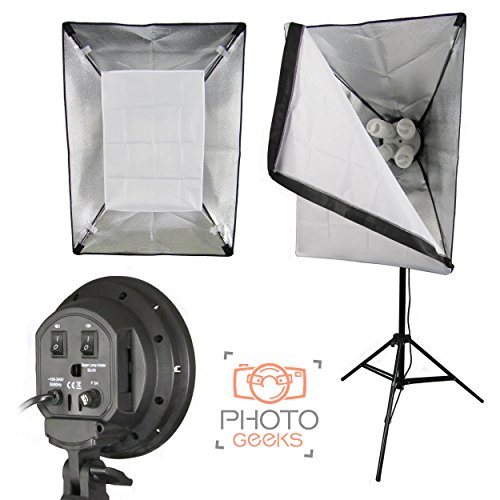 PhotoGeeks Single Softbox Continuous Studio Light - 4 Bulb Lamp Holder - 900w Fluorescent Lighting - 70x50cm Softbox