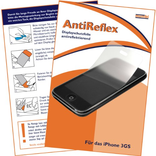 "mumbi Displayschutzfolie iPhone 3GS 3 3G 3Gs G GS Displayschutz ""AntiReflex"" antireflektierend"