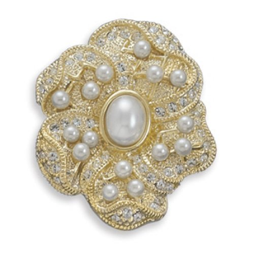 MMA Silver - 14 Karat Gold Plated Floral Design Fashion Pin