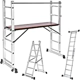 TecTake 3 Way combination ladder scaffold aluminium multi purpose ladder platform