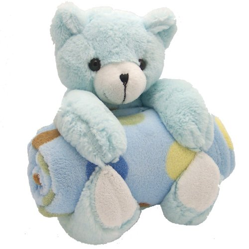 Bear With Blanket Pillow And Blanket Set Blue Dot front-963994