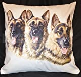 German Shepherd Trio Group Breed of Dog Themed Cotton Cushion Cover - Perfect Gift