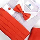 Orange Mens Cummerbunds graduation orange red soild Pre-tied Bow Tie Cufflinks Hanky and Cummerbund Set with Free Box By Epoint CM1023  Orange Red