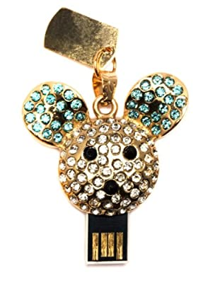 8GB Sparkly Mouse Blue/Gold USB Memory Stick - Flash Drive/School/Novelty/Gift from Round Wood Trading
