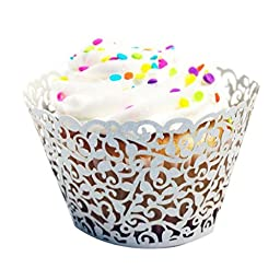 Baking Cup Cake Creazy 24pc New! Little Vine Lace Laser Cut Cupcake (Silver)