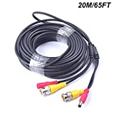 65 Feet EKYLIN All-in-One BNC Video Extension Cable with Power DC Connector for Security Camera Home Surveillance CCTV Closed-circuit TV System