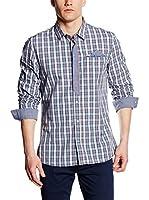 Guess Camisa Hombre Casual (Azul / Blanco / Rojo)