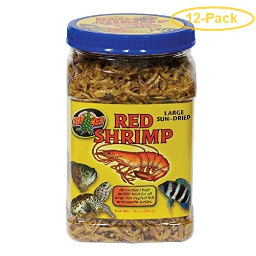 Zoo Med Large Sun-Dried Red Shrimp 10 oz - Pack of 12