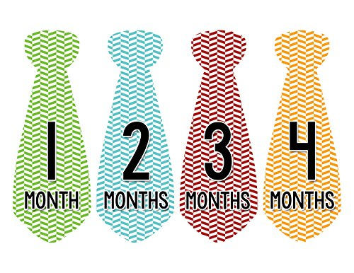 Months in Motion 722 Monthly Baby Stickers Necktie Tie Baby Boy Months 1-12 - 1