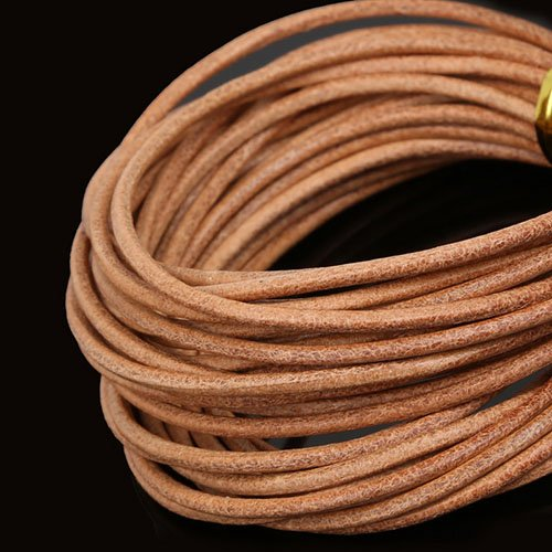 New Hot!! Mixed Color Round Real Leather Rope 2mm Brown/White/Black Beading Cords for Clothes Shoes Bracelet Jewlery Craft Making Nude