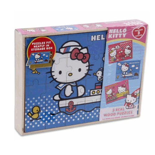 Sanrio 3 PCS Hello Kitty Real Wood Jigsaw Puzzles in Wooden Storage - 1