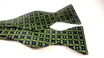 Marlon Garci 100% Silk Bow Tie - Green with Blue and White Print