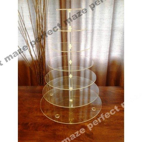 Perfectmaze 7 Tier Round Wedding Acrylic Cupcake Stand Tree Tower Cup Cake Display