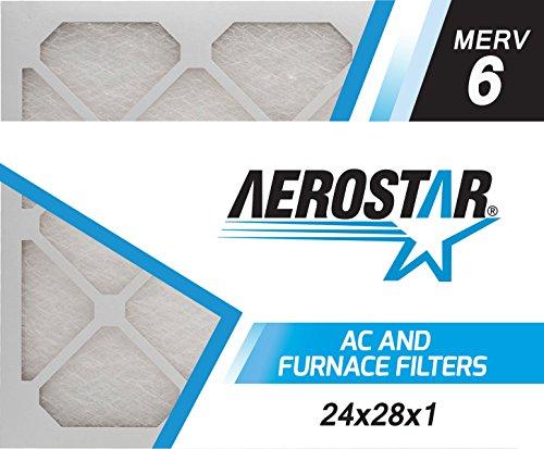 24x28x1 AC and Furnace Air Filter by Aerostar - MERV 6, Box of 6
