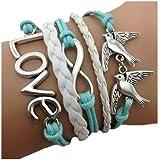 On The Journey Armband Unendlichkeit Baum des Lebens Taube und Perle Silber Weiß Infinity besser Lederband anhänger One Direction Black