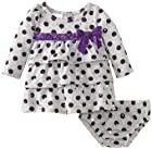 Nannette Baby-girls Infant 2 Piece Polka Dot Bow Dress and Panty