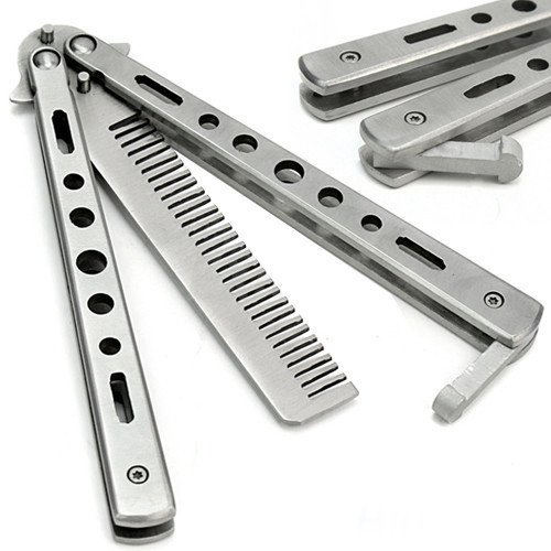 New Trendy Stainless Steel Practice Training Butterfly Knife Comb Tool Cool Sport