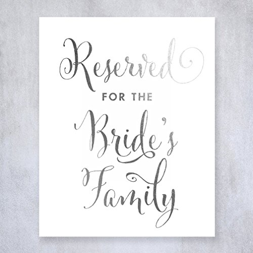 Reserved for Bride's Family Silver Foil Small Sign Wedding Reception Signage 5 inches x 7 inches E12