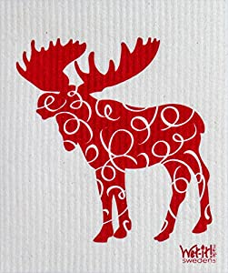 Swedish Treasures Wet-It! Cleaning Cloth, Works Great in Kitchen, Bathroom or Any Room, Reusable & Biodegradable, Moose