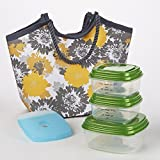 Bayside Insulated Lunch Bag (Yellow & Gray Shadow Flowers)
