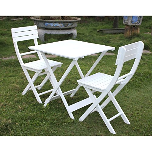 patio furniture bistro set table and 2 chairs white 3 pieces
