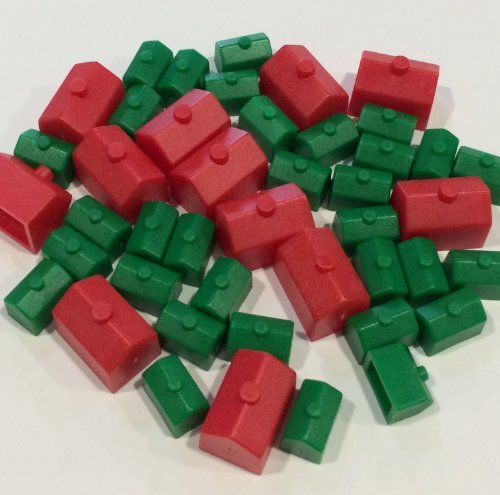 Monopoly Replacement Pieces: Houses & Hotels: Game Set of Plastic Monopoly Green House and Red Hotel Replacements (Red Monopoly Hotels compare prices)